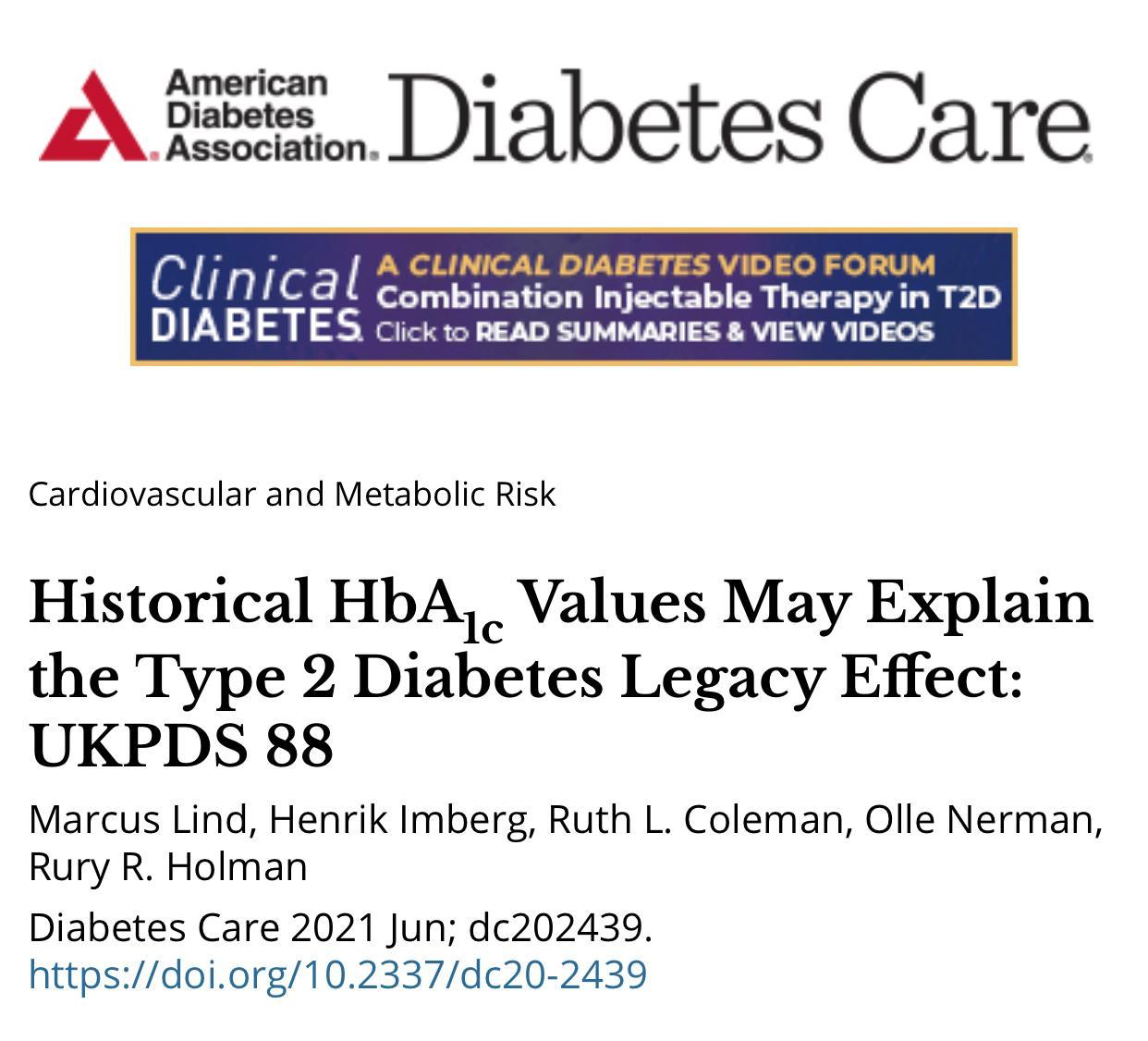 UKPDS 88: Valores Históricos de HbA1c Podem Explicar o Efeito Legado do Diabetes Tipo 2